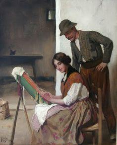 Con nuestras manos: Encajeras en el arte Luis Masriera y Roses (Spanish, 1872-1958) «Making lace»
