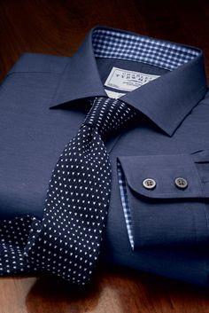 Navy and White chevron knitted handmade slim tie.