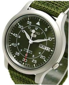 Seiko 5 Military Automatic Nylon Day Date Army Green Dial SNK805K2 Mens Watch 3