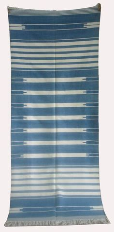 """Handwoven cotton,Blue/White stripped Dhurrie Rug, Flat-weave Runner, 2' 9"""" x 7'  #FusionFurnishings"""
