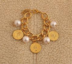 Golden Bracelet, White Pearls, Golden Coins, Golden Chain - Handmade - For Her