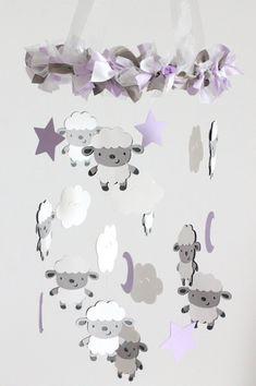 Sheep Clouds Nursery Mobile Lavender SMALL by LovebugLullabies