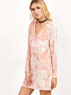 Pink Velvet V Neck Shift Dress