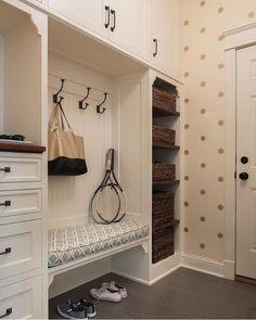 Beadboard Trim on Back of Mudroom Bench - Transitional - Laundry Room Entryway Closet, Hallway Storage, Room Closet, Closet Storage, Entryway Decor, Entryway Hooks, Storage Hooks, Entryway Ideas, Hallway Ideas