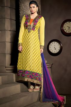 Daisy Shah Yellow Color Designer Salwar Suit