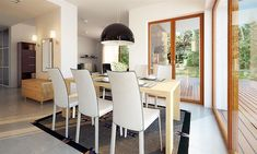 Zdjęcie projektu Endo drewniany BSE1076 Small Contemporary House Plans, Sweden House, Home Projects, Dining Chairs, Table, Furniture, Home Decor, House 2, House