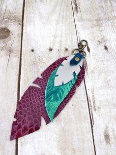 Leather Feather Bag Charm or Key Fob in Purple, Turquoise and Silver Leather
