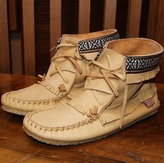 Men's or Women's Outdoor Tan Fringed Genuine Moosehide Leather Moccasin Boots - 137597M