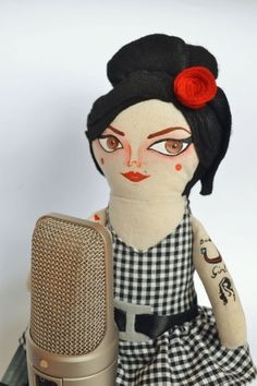 Amy Winehouse Doll Handmade doll Cloth doll by Mandarinasdetela