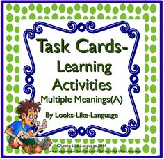Activities to learn common core vocabulary from Looks-Like-Language! Infer by function, match definitions and write sentences using these task cards. $