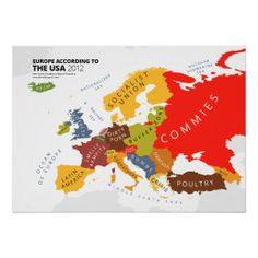 アメリカ人から見たヨーロッパはこんな感じ? ブラックユーモアの効いたポスター。 #zazzle #世界地図
