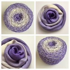 GRADIENT LILAC ~ These skeins are dyed so your project will start with darker lilac then move to cream, then change back to darker lilac by the end of your project. SO FUN! Colors: shades of light purple, cream  Yards: +\- 463. Weight: fingering, 4-ply  Fiber: 75% Superwash Merino Wool / 25% Nylon #yarnbaby