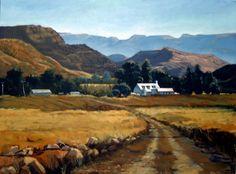 Ceres Valley Watercolor Landscape, Landscape Art, Landscape Paintings, Oil Paintings, Namibia, African Artists, Pretoria, Lush Garden, Africa Travel