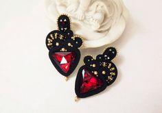 Soutache earrings studs Red black gold soutache от JaneEJewelry