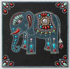 aut ntico elefante pintura original artesan a hecha a mano en el estilo…