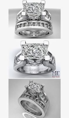 Modern Horizontal Radiant Cut diamond Engagement ring & Matching wedding ring Bridal Set
