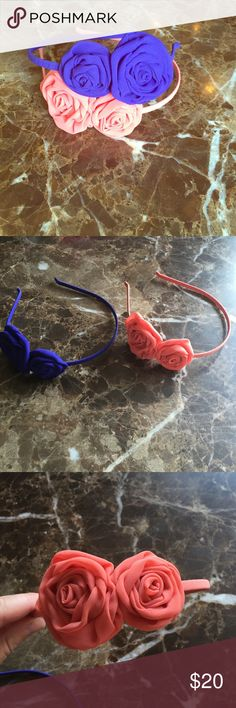 Lot of 2 J. Crew headbands EUC like new headbands from J. Crew. Each have two roses attached. Women's one size. One is purple and the other is a salmon color J. Crew Accessories Hair Accessories