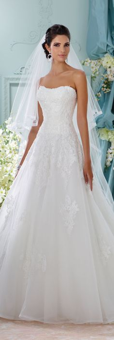 The David Tutera for Mon Cheri Spring 2016 Wedding Gown Collection - Style No. 116208 Alesea #laceweddingdresses