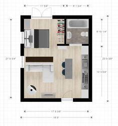 20ftx24ft Cabin Or Studio Apartment Layout Houseplans House Plans Log Floor
