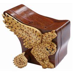 Snow Owl intarsia puzzle box by PrettyWoodBox on Etsy