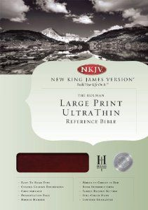 NKJV Large Print UltraThin Reference Bible - Mahogany Leather Touch by B&H Editorial Staff. $26.39. Publisher: Holman Bible Publishers; Lrg edition (February 1, 2013)