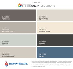I found these colors with ColorSnap® Visualizer for iPhone by Sherwin-Williams: Worldly Gray (SW Intellectual Gray (SW Amazing Gray (SW Agreeable Gray (SW Anew Gray (SW Mega Greige (SW Mindful Gray (SW Repose Gray (SW