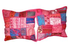 Indian Pillow Shams 2 Pink Patchwork Embroidered Sari Cushion Covers $22.99