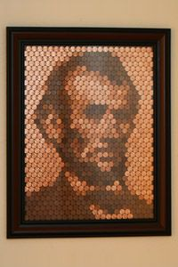 Abe Lincoln Portrait out of Pennies