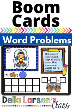 Boom Cards winter word problems. Fun math center with winter word problems. This deck has word problems with addition to 10. Your students click the speaker to hear the problem, then drag the dots to represent the equation. Then they type the equation. A perfect way to work on this critical skill and assess math fluency. Common Core Standard CCSS.MATH.CONTENT.K.OA.A.2 Solve addition and subtraction word problems, and add and subtract within 10