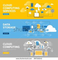 Set of flat line design web banners for cloud computing services and technology, data storage. Vector illustration concepts for web design, marketing, and graphic design.