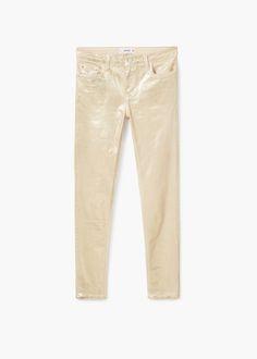 Gloss metallic skinny jeans | MANGO light gold