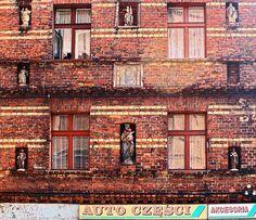 Windows of a house just opposite de famous Basilica of Piekary, Piekary Slaskie, Slaskie_ West Poland