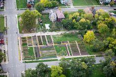 Detroit by Air - Brush Street Farm, the Michigan Urban Farming initiative