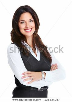 Portrait of happy young business woman isolated on white background by kurhan, via Shutterstock