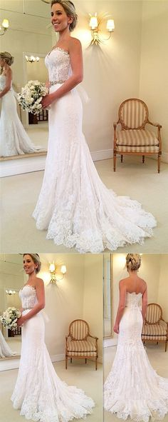 New Arrival A-Line Sexy Wedding Dresses,Long Wedding Dresses,Backless Wedding Dresses #weddingdress #bridal #wedding #bigday #white #lace #sweetheart #mermaid #bridaldress