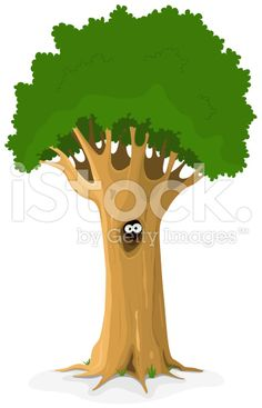 Owl Or Animal Eyes In Tree Hollow royalty-free stock vector art