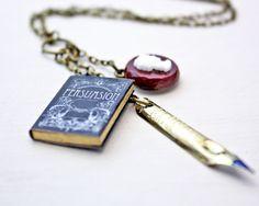 Persuasion Jane Austen Miniature Book, Cameo & Pen Nib Necklace