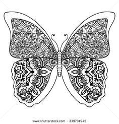 Butterfly. Vintage decorative elements with mandalas. Oriental pattern, vector illustration.  Islam, Arabic, Indian, turkish, pakistan, chinese, ottoman motifs - stock vector