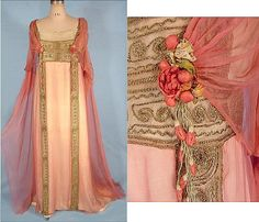 "http://www.antiquedress.com/item4335.htm c. 1912 JEANNE HALLEE,  A beautiful rose pink gossamer chiffon draped over an underdress of ivory ""peau-de-cygne (swan-skin - a kind of textured satin). It's trimmed under with embroidered gold net and pendant sprays of silk rose buds. Note that the inner petals of the flowers are a deeper shade than the outer petals, and with graduated ribbon colors."