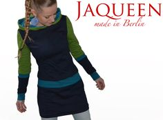 Hoodies - Hoodie Winter Kleid dunkelblau  - ein Designerstück von JAQUEEN-handmade-streetwear-berlin bei DaWanda