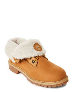 Timberland (Kids Boys) Wheat AF Roll Top Sherpa-Lined Boots