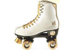patines cuatro ruedas dorado