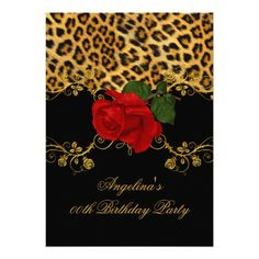 "Leopard Roses Red Black Gold Birthday Party 2 5"" X 7"" Invitation Card"