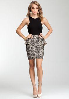 Lace Jersey Peplum Dress.