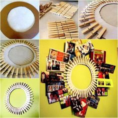 "35+ Creative DIY Ways to Display Your Family Photos --> Clothespin Photo Frame <a class=""pintag"" href=""/explore/diy"" title=""#diy explore Pinterest"">#diy</a>"