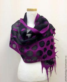 Купить шарф валяный ФИОЛЕТОВЫЕ ГОРОХИ - тёмно-фиолетовый, в горошек, шерсть, валяние из шерсти