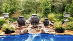 A new Water Feature and some plants totally transformed this Swimming Pool. Natural Swimming Pools, Ponds, Water Features, Tennessee, Jackson, Nursery, Patio, Nature, Natural Pools