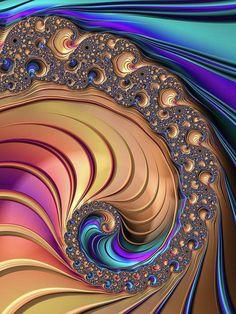 Luxe Fractal Spiral Art Print for sale,  wonderful colors (khaki, sienna, purple, aqua, blue and more). Available as poster, framed print, metal, acrylic, wood or canvas print. Art for your Home Decor and Interior Design by Matthias Hauser.