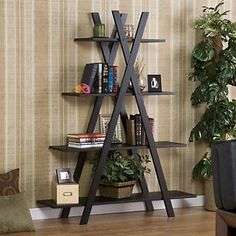 Modern Bookcase Bookshelf Display Shelves Home Office Living Room Bedroom from Hearts Attic. Saved to Home Aesthetic . Living Room Bedroom, Living Room Decor, Bedroom Modern, Bedroom Decor, Living Area, 4 Shelf Bookcase, Black Bookcase, Bookcases, A Frame Bookshelf