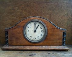 Antique English large wood framed mantle piece clock in working order circa / English Shop Wood Mantle, Mantle Clock, Vintage Wood, Vintage Decor, Vintage Mantle, Antique Items, Vintage Items, Mantle Piece, Serving Table